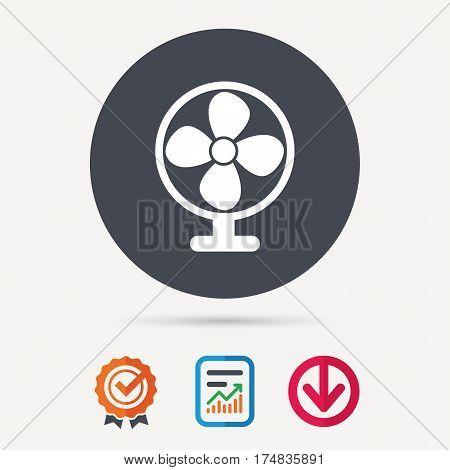 Ventilator icon. Air ventilation or fan symbol. Report document, award medal with tick and new tag signs. Colored flat web icons. Vector