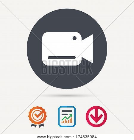 Video camera icon. Film recording cam symbol. Security monitoring. Report document, award medal with tick and new tag signs. Colored flat web icons. Vector