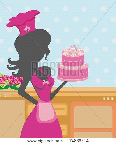 Housewife cooking cake in the kitchen , vector illustratrion