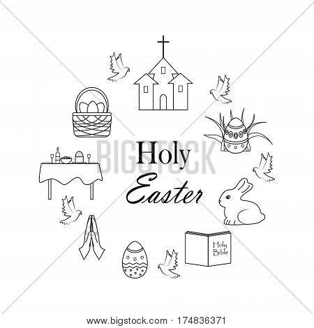 Set of celebration Easter Icons. vector illustration. Holy Easter.