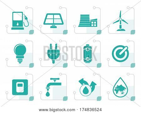 Stylized Ecology, power and energy icons - vector icon set