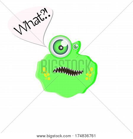 Green monster with big eye. Bizarre alien isolated. Character with a surprised emotion on white background. Vector illustration