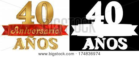 Golden digit forty and the word of the year. Translated from the Spanish. 3D illustration