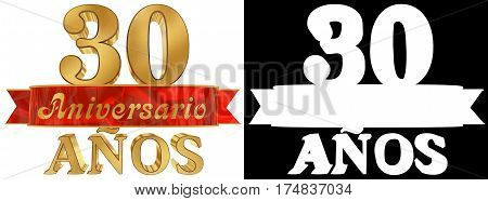 Golden digit thirty and the word of the year. Translated from the Spanish. 3D illustration