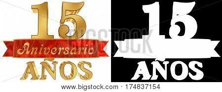 Golden digit fifteen and the word of the year. Translated from the Spanish. 3D illustration