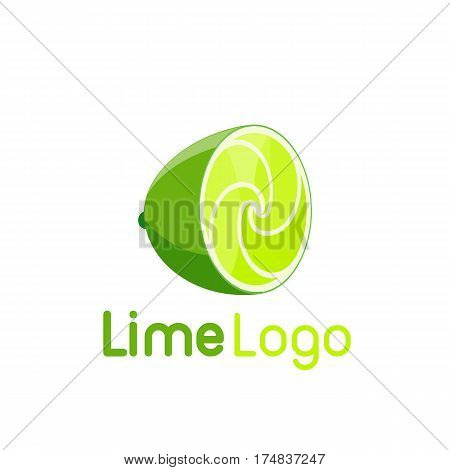 An abstract logo lime with spiral pulp. Unusual isolated tropical fruit logotype.