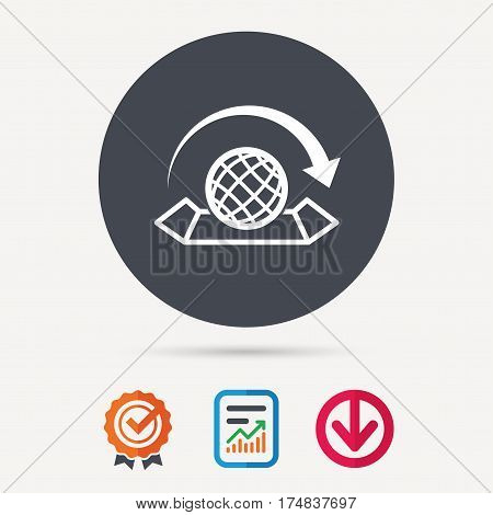 World map icon. Globe with arrow sign. Travel location symbol. Report document, award medal with tick and new tag signs. Colored flat web icons. Vector