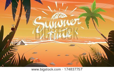 Summertime on ocean coast. Summer vacation on beach.View to sea.Plants around.Cartoon vector illustration