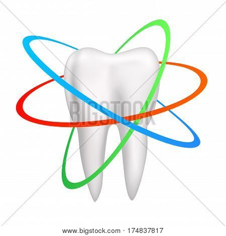 Single mesh human healthy protected tooth isolated on transparent background. Care and hygiene symbol icon. Vector dental medical illustration.