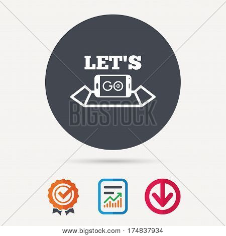 Smartphone icon. Let's Go symbol on map. Pokemon game concept. Report document, award medal with tick and new tag signs. Colored flat web icons. Vector