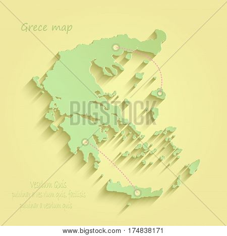 Greece map yellow green vector template outline