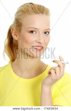 Young woman smoking electronic cigarette (e cigarette), isolated on white poster