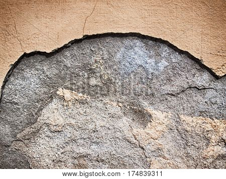 Beige Wall Texture With Cracks And Damage, Light Background