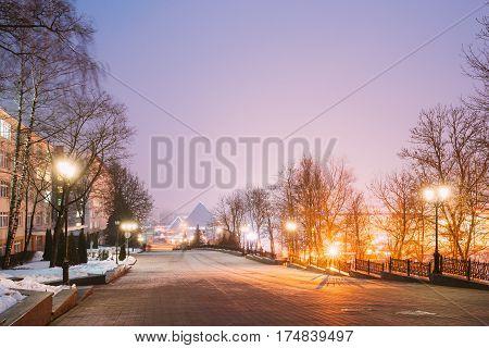 Night Street View Of Lenin With Gogol Street In Evening Or Night Illumination In Vitebsk, Belarus. Winter Season