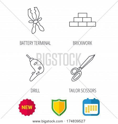 Wall, battery terminals and scissors icons. Drill tool linear sign. Shield protection, calendar and new tag web icons. Vector