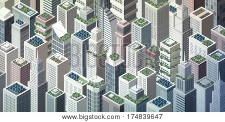 Futuristic isometric green city with rooftop gardens and solar panels on skyscrapers sustainability and innovation concept poster