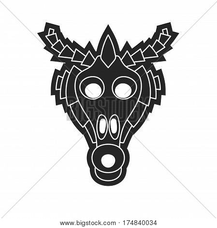 Ancient Tribal Mask In Black And White Style