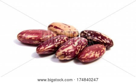 Colorful beans close up isolated on a white background