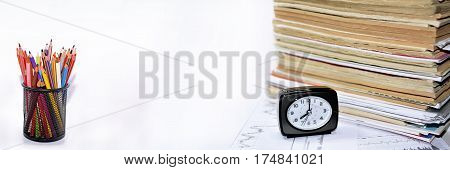 Old Books With Clock.