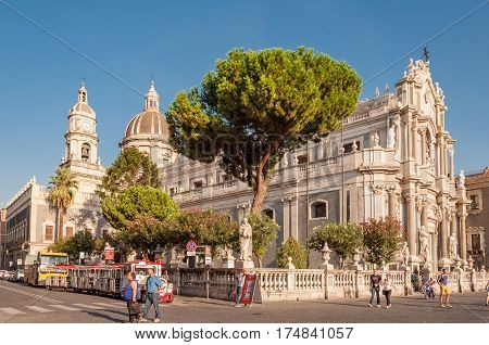 Piazza Duomo Or Cathedral Square With Cathedral Of Santa Agatha