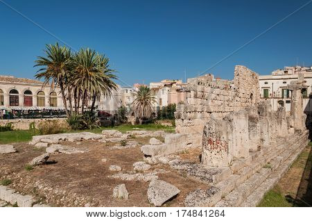 The remains of the old ancient temple Tempio di Apollo - Syracuse Sicily Italy
