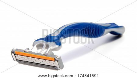 Use disposable shaving machine on white background