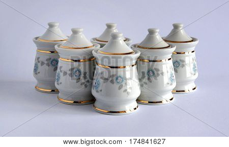 Photo shows a few Porcelain Jars for spices