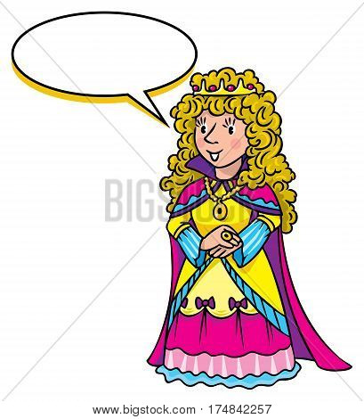 Beautiful queen or princess in medieval dress, the crown and the mantle, with long blonde curly hair. Profession ABC series. Childrens vector illustration. With balloon for text