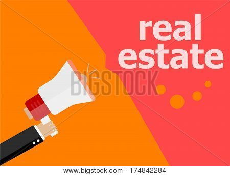 Real Estate. Hand Holding Megaphone And Speech Bubble. Flat Design