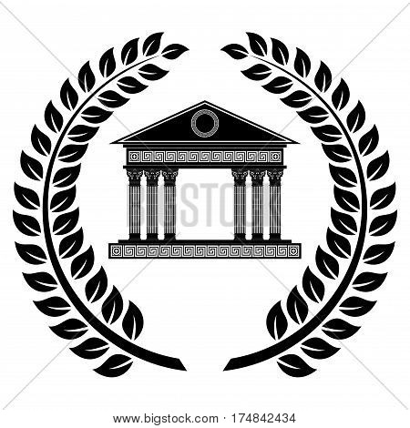 Vector logo in the Greek style wreath of ears and temple with columns.