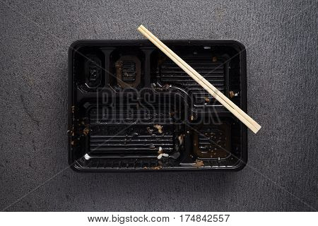 Finnish Japanese Food Tonkatsu Rice And Vegetable Take Away On Table Background