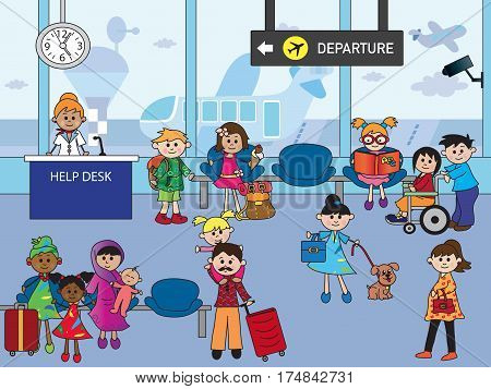 illustration of indoor airport with happy people