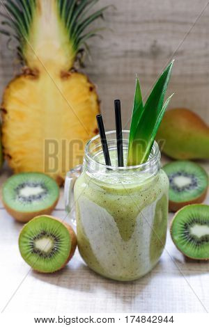 Smoothie Of Kiwi, Pineapple And Pears.