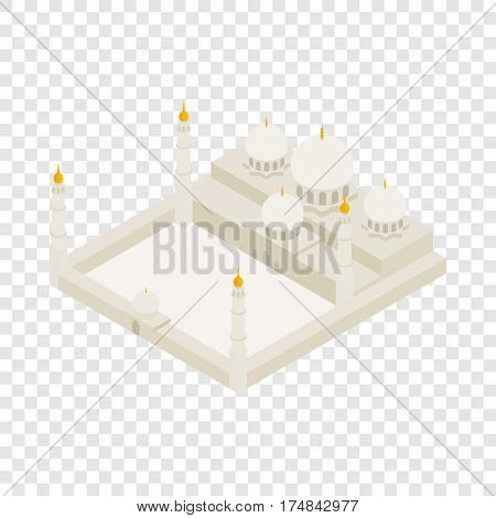 Sheikh Zayed Grand mosque isometric icon 3d on a transparent background vector illustration