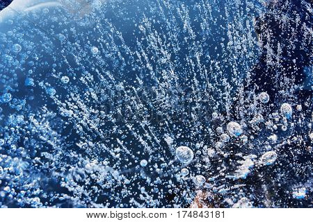Frozen, Unique, Ice Bubbles. Frozen Gas Bubbles Metena Air Cavity In Ice. Beautiful Natural Phenomen