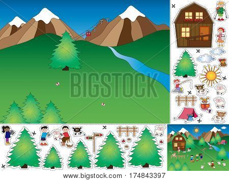 game for children: cut and paste the mountain landscape