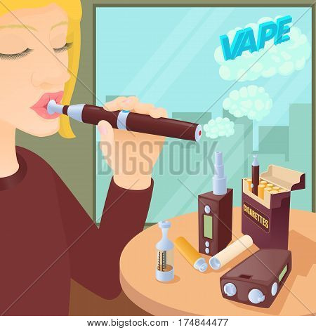E-cigarettes concept. Cartoon illustration of e-cigarettes vector concept for web