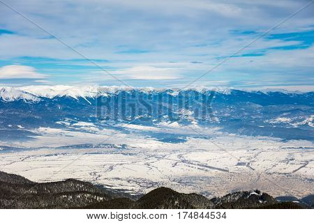 Panorama view of a winter day on the mountain in the ski centar Bansko.
