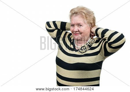 Fashionable old woman puts on white pearl necklace, isolated on a white background