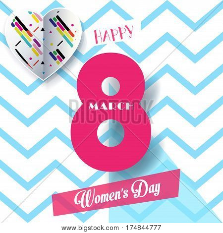 8 March Happy Women's Day. Eighth March Greeting card. 8 March International womens day. Spring Holiday. Futuristic, modern design. Number Eight isolated logo, hearts, zigzag, geometric, blue wavy, stylish background. Trendy style. Fashion Vector illustra