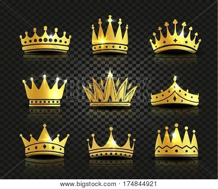 Isolated golden color crowns logo collection on black background, luxury royal sign vector illustrations set.