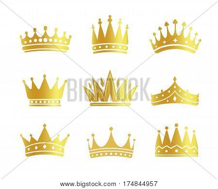 Isolated golden color crowns logo collection on white background, luxury royal sign vector illustrations set.