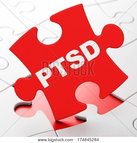 Health concept: PTSD on Red puzzle pieces background, 3D rendering