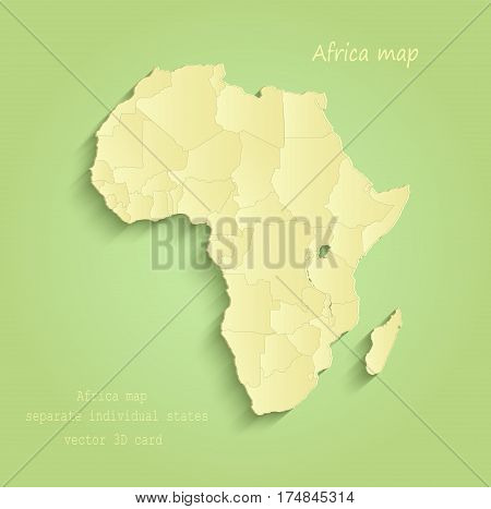 Africa map separate individual states green yellow vector