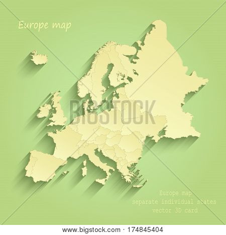Europe map separate individual states green yellow vector