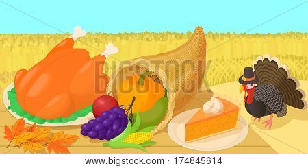 Thanksgiving day concept. Cartoon illustration of thanksgiving day landscape vector concept for web
