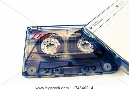 old music tape and cassette on a white background