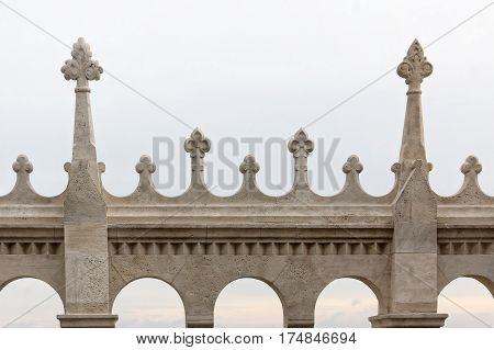 Hungary Budapest Castle Hill Gothic columns detail.