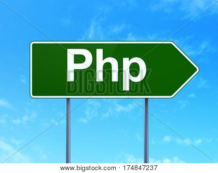 Programming concept: Php on green road highway sign, clear blue sky background, 3D rendering