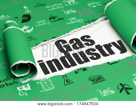 Industry concept: black text Gas Industry under the curled piece of Green torn paper with  Hand Drawn Industry Icons, 3D rendering